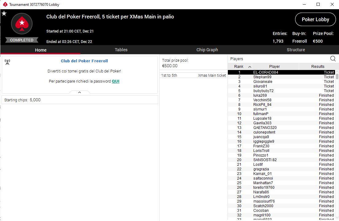 lobby freeroll club del poker pokerstars ticket xmas main