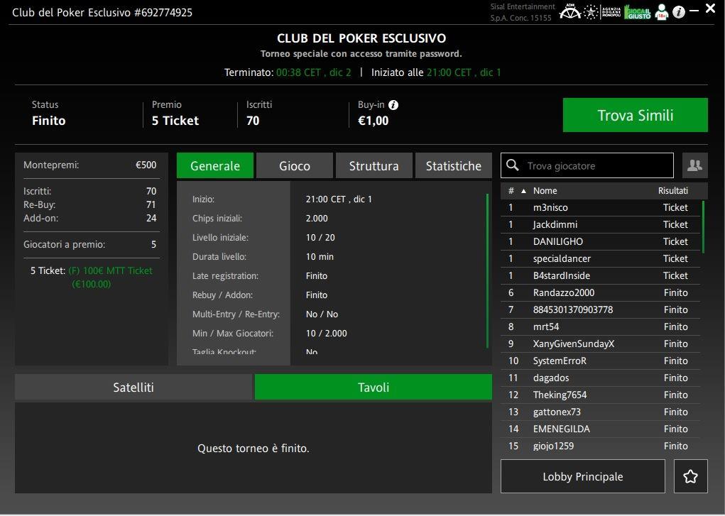 lobby torneo esclusivo club del poker sisal dicembre jackdimmi