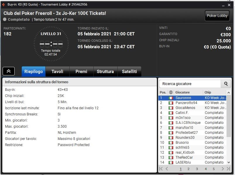 lobby club del poker freeroll