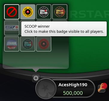 scegliere badge titoli pokerstars