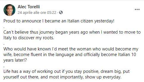 alec torelli annuncio cittadinanza italiana